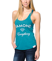 Diamond Supply Co. Girls Diamond Everything Teal Tank Top