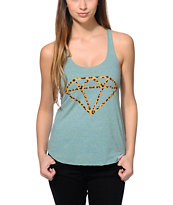 Diamond Supply Co. Girls Leopard Rock Mint Racerback Tank Top
