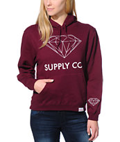 Diamond Supply Co. Girls Supply Co Dark Red Pullover Hoodie