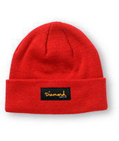 Diamond Supply Co. Gold Foil Red Beanie