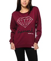 Diamond Supply Co. OG Script Burgundy Crew Neck Sweatshirt