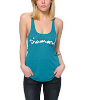 Diamond Supply Co. OG Script Teal Tank Top