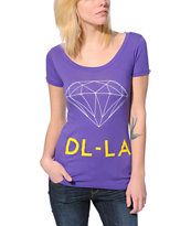 Diamond Supply Co. Women's DL-LA Purple Scoop Neck Tee Shirt
