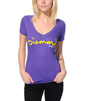 Diamond Supply Co. Women's OG Script Purple V-Neck Tee Shirt