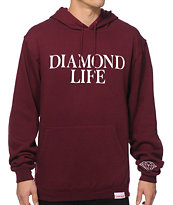 Diamond Supply Diamond Life Burgundy Hoodie