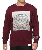 Diamond Supply Ring Burgundy Crewneck Sweatshirt