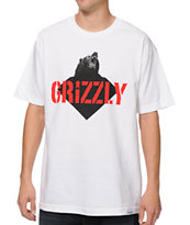 Diamond Supply x Grizzly Grip Tape Beast White Tee Shirt