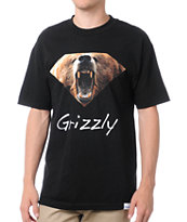 Diamond Supply x Grizzly Grip Tape Diamond Grizzly Black Tee Shirt