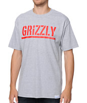 Diamond Supply x Grizzly Grip Tape Stamp Logo Grey Tee Shirt