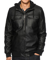 Dravis Conduct Faux Leather Hooded Jacket