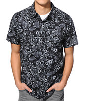 Dravus Benjamin Black Novelty Short Sleeve Button Up Shirt