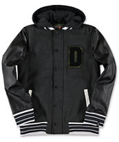 Dravus Boys Wasted Youth Charcoal & Black Varsity Jacket