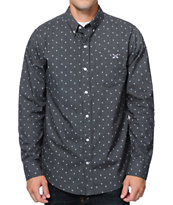 Dravus Chevs Monogram Navy Long Sleeve Button Up Shirt