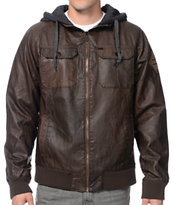 Dravus Cyrus Brown Faux Leather Hooded Jacket