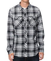 Dravus Dominion Black & White Plaid Long Sleeve Flannel Shirt