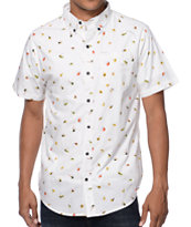 Dravus Fly White Print Short Sleeve Button Up Shirt