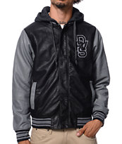 Dravus Freshmen Black & Charcoal Faux Leather Varsity Jacket