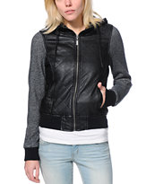 Dravus Girls Mckinney Black Qulited Faux Leather Jacket