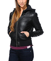 Dravus Girls Rialto Black Quilted Faux Leather Jacket