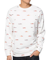 Dravus Gone Fishin' Beige Crew Neck Sweatshirt