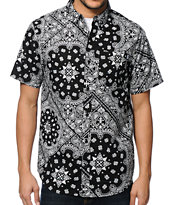 Dravus Hyphenated Black Paisley Button Up Shirt