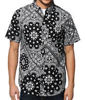 Dravus Hyphenated Black Paisley Button Up Shirt