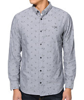Dravus Influence Grey Paisley Long Sleeve Button Up Shirt