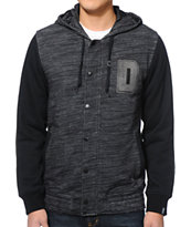 Dravus Jackson Heather Charcoal & Black Hooded Fleece Jacket
