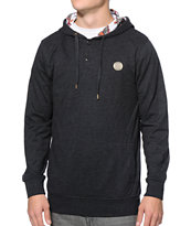 Dravus Mantua Black Long Sleeve Hooded Henley Shirt