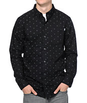 Dravus On Point Black Monogram Long Sleeve Button Up Shirt