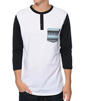Dravus Onpoint White & Black Henley Baseball Pocket Tee Shirt
