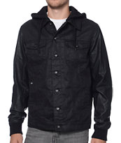 Dravus Parker Black Denim & Faux Leather Hooded Jacket