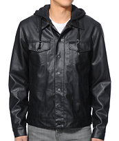 Dravus Pratt Black Faux Leather Hooded Jacket