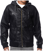 Dravus Revolt Black Faux Leather Hooded Bomber Jacket