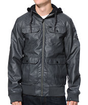 Dravus Revolt Charcoal Faux Leather Hooded Jacket