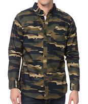 Dravus Sting Op Camo Print Long Sleeve Button Up Shirt