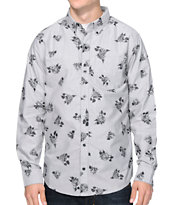 Dravus Thorn Grey Rose Print Long Sleeve Button Up Shirt