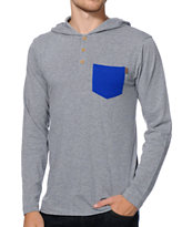 Dravus Thrux Grey Hooded Henley Knit Pocket Shirt