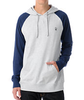 Dravus Two Faced Grey & Navy Hooded Baseball Shirt