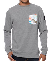 Dravus Variant Charcoal Floral Pocket Crew Neck Sweatshirt