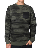 Dravus Variant Green Woodgrain Pocket Crew Neck Sweatshirt