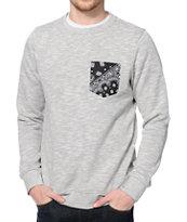 Dravus Variant Grey Crew Neck Pocket Sweatshirt