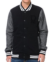 Dravus Vaughn Black & Charcoal Fleece Varsity Jacket