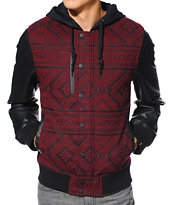 Dravus Wasted Youth Black & Burgundy Wool Varsity Jacket
