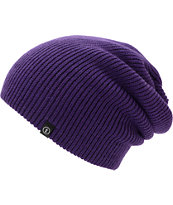 Electric Gauges Solid Purple Slouch Beanie