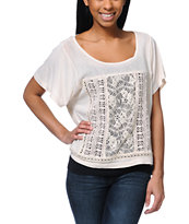 Element Blueprint Lace Inset Natural Dolman Top