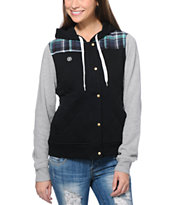 Element Girls Aberdeen Black & Plaid Quilted Fleece Jacket