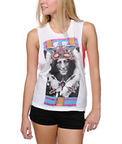 Element Girls Cat Lady White Muscle Tank Top