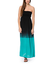 Element Mandala Black & Turquoise Maxi Dress
