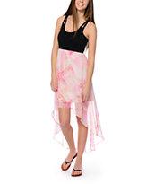 Element Natalia Black & Pink Chiffon High Low Dress